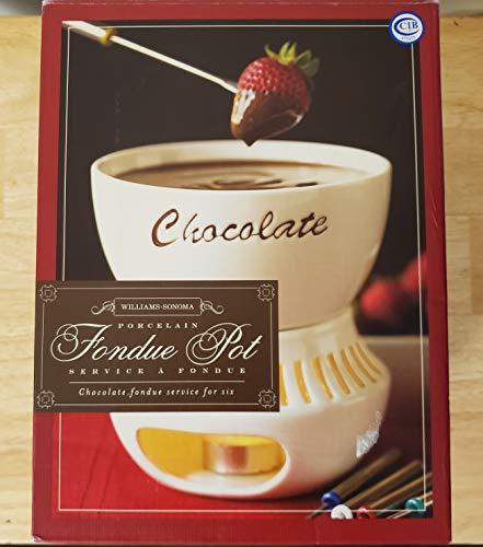 Williams Sonoma Porcelain Fondue Pot - Chocolate Fondue Service for Six