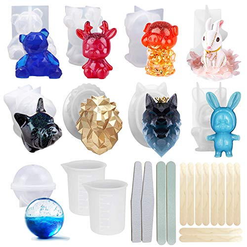 Woohome 3D Animal Resin Molds Tools Set, 9 PCS Resin Casting Molds Epoxy Silicone Molds, Measurement Cup, Wood Sticks, Polishing Stick for Resin Craft DIY, Keychain, Home Decoration