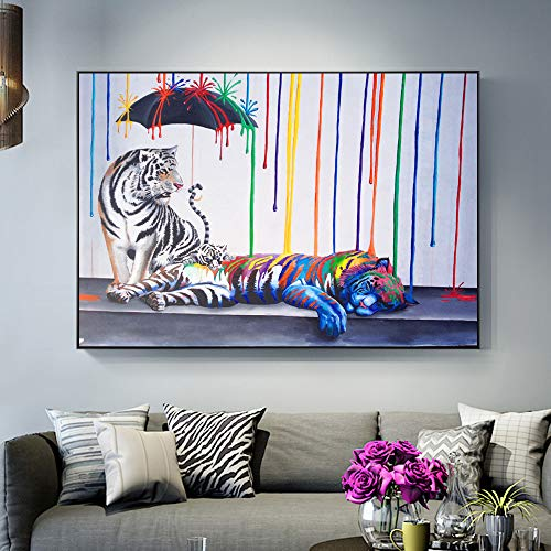 ganlanshu Rahmenlose Malerei Tiger Moderne abstrakte Kunst drucken Graffiti Straße Leinwand Kunst Wandbild Poster30X45cm