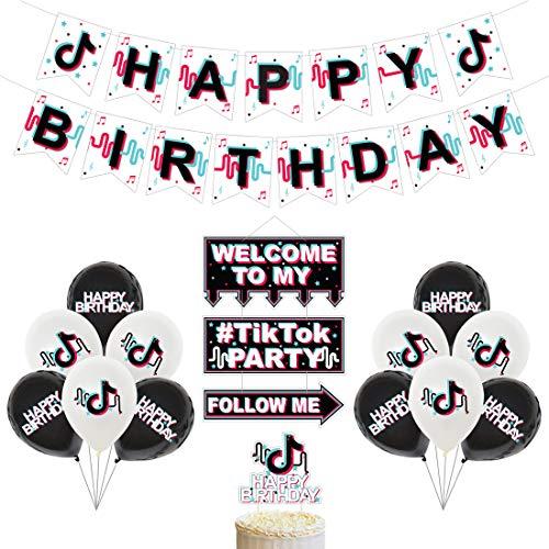YUESEN TIK Tok Palloncini Festa 15PCS Decorazioni per Feste TIK Tok Torta di Compleanno Banner Cake Topper Latex Balloon per Musica per Bambino Articoli per Feste a Tema Karaoke