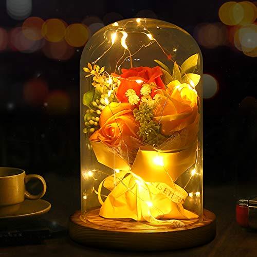 Rosa Encantada la Bella y la Bestia Rosa Eterna 3 Rosas Naranjas Artificiales con Luces LED Base Madera Cúpula Cristal Regalo para Día de San Valentín Bodas Navidad Cumpleaños Mujer Máma Novia