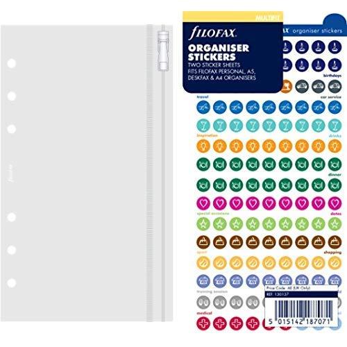 Filofax 133618 Personal Klarsichttasche mit Reißverschluss & 130137 Organiser Stickers