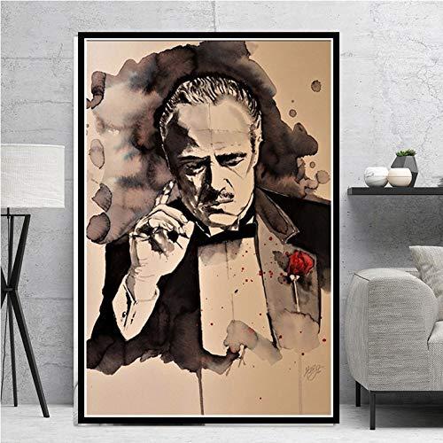 wZUN Carteles e Impresiones Padrino película clásica gángster Actor Pintura Arte Lienzo Cuadro de Pared para decoración del hogar 60x80 Sin Marco