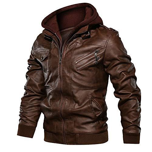 JINGXU Chaqueta de cuero sinttico de PU con capucha desmontable para hombre para otoo e invierno, adecuada para montar en motocicleta, marrn, XL