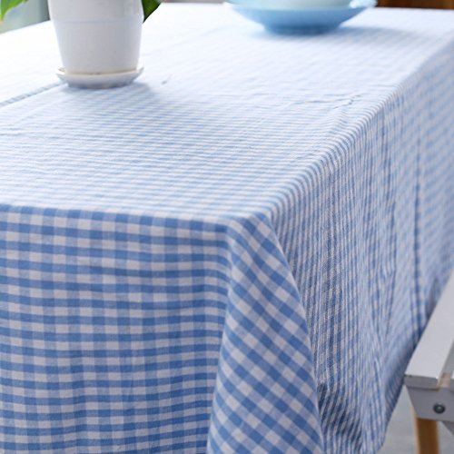 Jennice House Vintage Gingham Tablecloths 55X80 Inch Rectangular Oversized Christmas Holiday Home Decorative100% Pure Cotton Tablecloths(Blue)