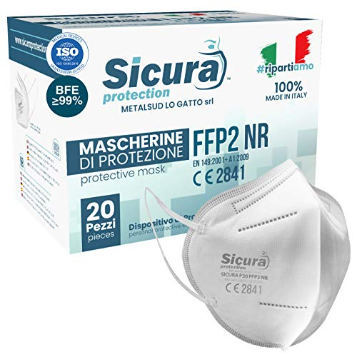 20 Mascherine FFP2 Certificate CE Italia Adulti BFE ≥99% Made in...