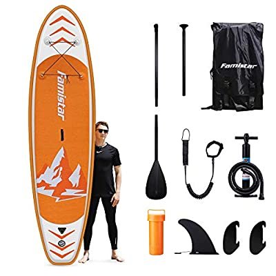 Famistar Inflatable Stand Up Paddle Board 10'10''x30''x6'' Lightweight SUP for Yoga Fishing with Accessories ISUP Carry Bag, 3 Fins, Non-Slip Eva Deck, Hand Pump, Adjustable Paddle, Leash, Repair Kit