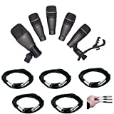 Samson DK705 5-Piece Drum Microphone Kit & Case with 5X Mic Cable, 20 ft. XLR Bulk + Hosa Label A Cable Kit, 60 Peel Off Labels - Valued Accessory Bundle