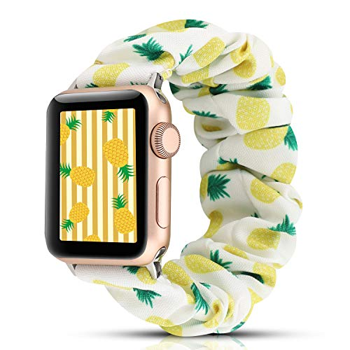 YOSWAN Scrunchie Elastic Watch Band Compatible with Apple Watch Band 38mm 40mm Women Girls Cloth Hair Rubber Band Strap Bracelet for iwatch SE Series 6 5 4 3 2 1 (Yellow DG2 Pineapple, 38mm/40mm)