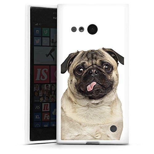 DeinDesign Silikon Hülle kompatibel mit Nokia Lumia 730 Hülle weiß Handyhülle Mops H& Welpe