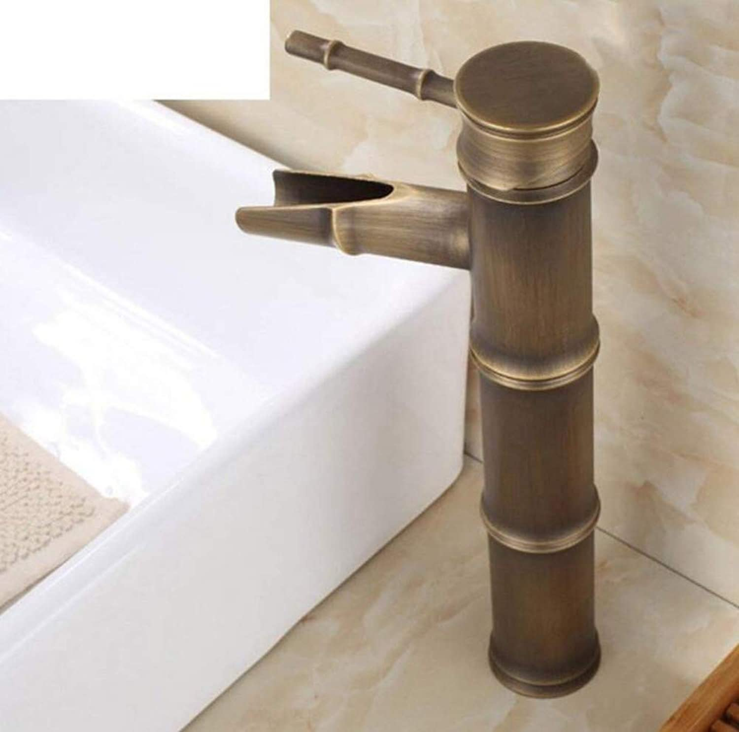 Retro Faucet Mixer Counter Basin Faucet All-Copper Hot and Cold Basin Mixer Antique gold-Plated Hole Faucet