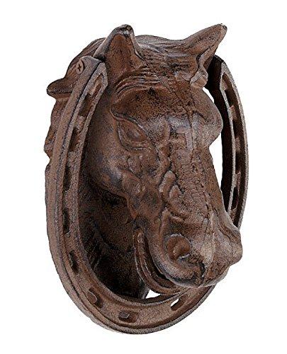 zeitzone Türklopfer Pferd Gusseisen Antik-Braun 18cm