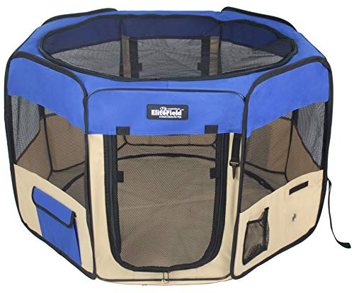 EliteField 2-Door Soft Pet Playpen, Exercise Pen, Multiple Sizes and Colors Available for Dogs, Cats and Other Pets (62' x 62' x 36'H, Royal Blue+Beige)