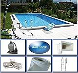 Summer Fun Styropor Schwimmbecken Set EPS25 rechteckig inkl. Sandfilteranlage Lugano 700 x 350 x 150 cm Tiefbeckenleiter