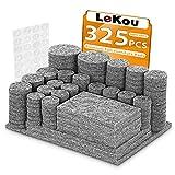 LeKou Protectores para patas de mesa. Juego de 325: 285 fieltros adhesivos y 40 lagrimas silicona adhesivas. Protector adhesivo para patas de sillas, fieltro para sillas de 5mm