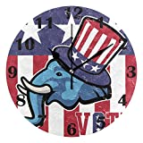 Jacque Dusk Reloj de Pared Moderno,Poste del Vector del Partido Republicano Americano,Grandes Decorativos Silencioso Reloj de...