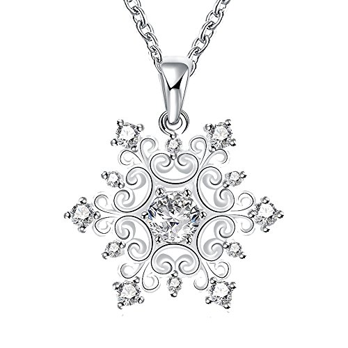 Happy Gogou Silver Color Snowflake Pendant Necklaces for Women Setting with Cubic Zirconia