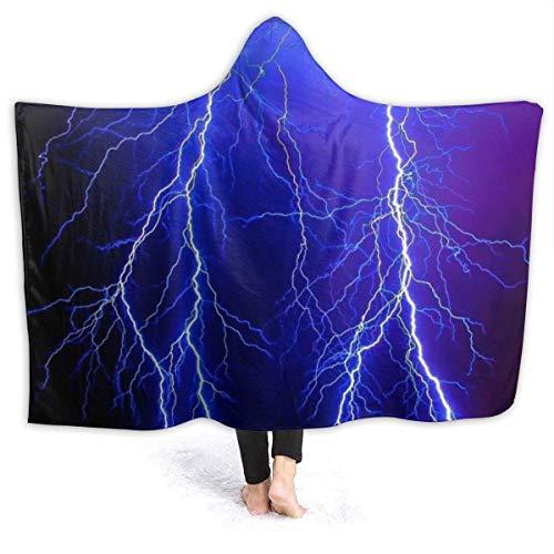 """XXWK Kuscheldecken Überwürfe Decken Hooded Blankets Night Sky Lightning Printed Super Soft Sherpal Plush Wearable Throw Blanket Black 60\""""x50\"""" Inch Lightweight"""