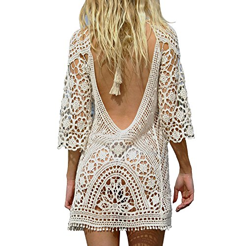 Mangotree Damen Boho Spitze Häkeln Bikini Cover Up Nackten Rücken Strandkleid Beachwear Badeanzug Sommerkleid Tunic Tops (One Size, Beige)