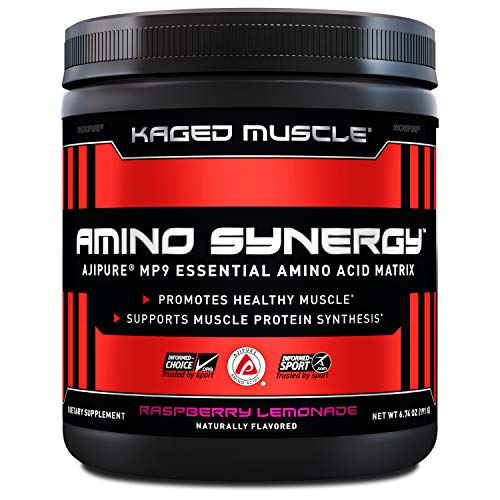 Kaged Muscle Amino Synergy 30 Servings Raspberry Lemonade, Vegan-sourced Essential Amino acids,