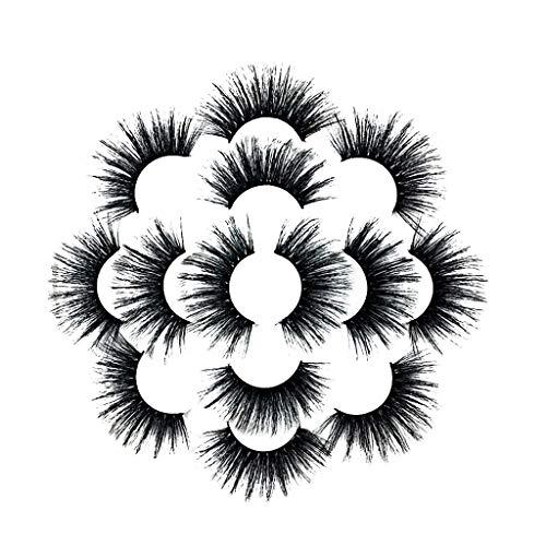 Youdong Faux Cils 3Pair Luxury 8D Fluffy Strip Eyelashes Long Parti Naturel Magnétique 3D Réutilisables Faux Cils Naturels à la Main Ultra-Minces sans Colle, Aimants Magnétique Cils
