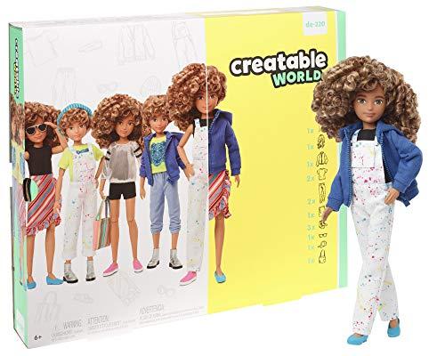 Creatable World GGG56 - Deluxe Charakter Puppen Set, individuell gestaltbare gender neutrale Puppe mit hellbraunen, lockigen Haaren, Spielzeug ab 6 Jahren