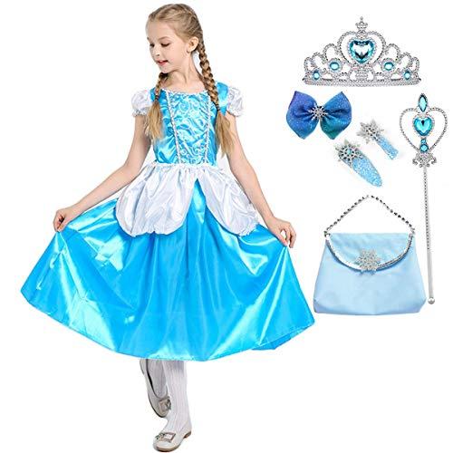 Fanessy Disfraz de princesa Cenicienta para nias Vestido azul de Cenicienta con tiara y varita mgica para fiesta de carnaval Halloween Navidad