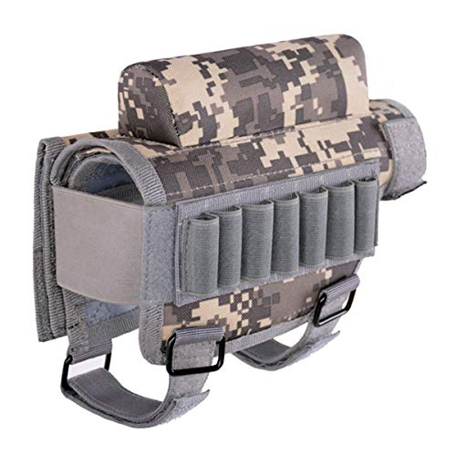 Rifle Buttstock Portable Adjustable Tactical Shell Holder Cheek Rest Pouch Holder Pack with 7 Shells Holder for Hunting Shooting, Rifle Cheek Riser (ACU Camouflage)