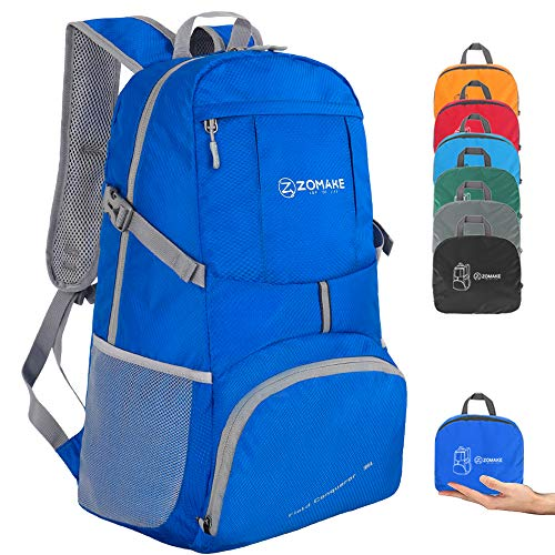 ZOMAKE Lightweight Foldable Backpack 35L, Water Resistant Rucksack, Unisex Nylon Daypack for Travel Hiking Cycling Outdoor Sport (Dark Blue)