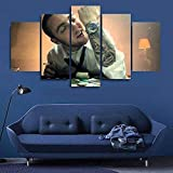 Canvas Prints 5 Pieces Wall Art Mac Miller Famous Person Modern HD Print Canvas Artwork Wooden Frame Decoration Living Room Home Wall Painting Ready To Hang,150X80Cm (ZYJ927)