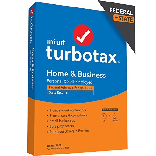 TurboTax Home & Business Desktop 2020 Tax Software, Federal and State Returns + Federal E-file [Amazon Exclusive] [PC/Mac Disc]