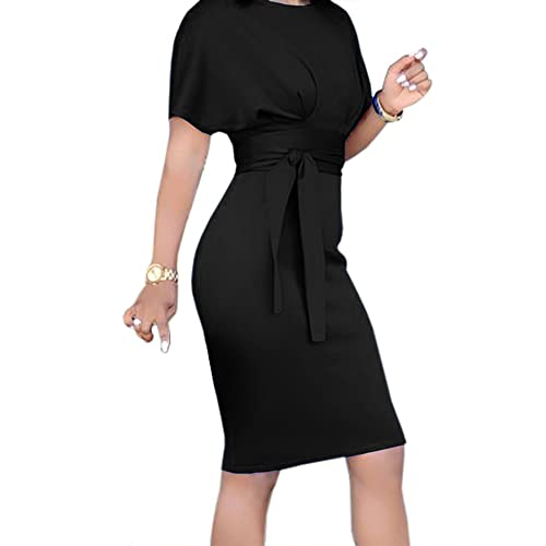 b4bb549552 Geckatte Womens Work Pencil Bodycon Dresses Summer Short Sleeve Business  Midi Dress with Belt