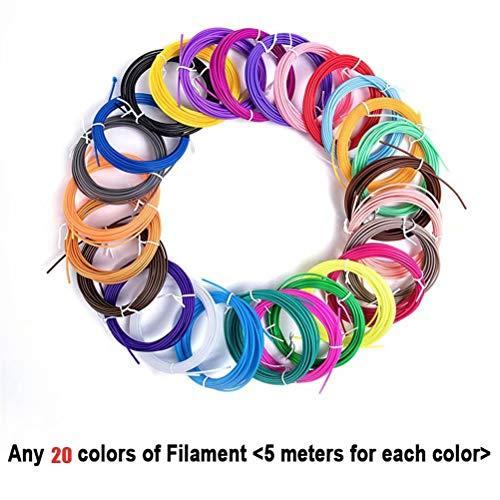 3D Pen Filament 20 Colors 1.75mm 3D Print PLA Filament Refills 16ft Colorful 3D Printer Filaments for Most Intelligent 3D Pen