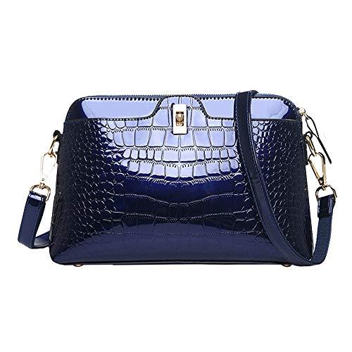 PU pelle verniciata coccodrillo borsa donna borsa a tracolla borsa a tracolla borsa da sera pochette, Blu (Blu), Taglia unica