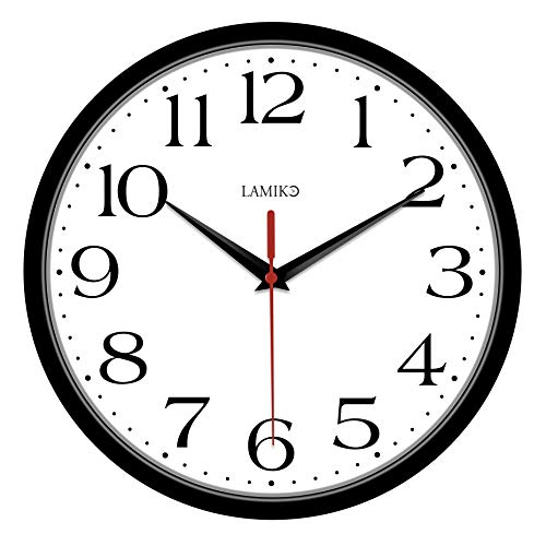 LAMIKO Non-Ticking Silent Wall Clocks Battery Operated 10 Inch Classic Quartz Decro Clock Easy to Read for Room Home Kitchen Bedroom Office School Black