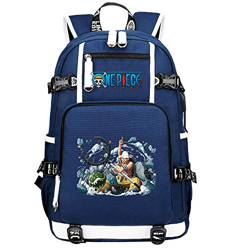 ZZGOO-LL One Piece Monkey·D·Luffy/Usopp Anime Backpack Middle Student School Rucksack Daypack for Women/Men with USB-B