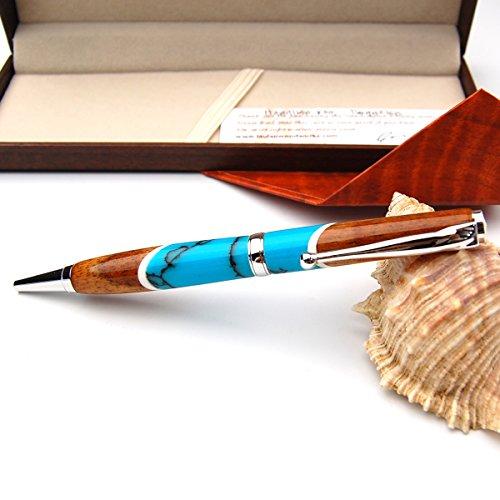 BreezyIslandコアウッドペン美く輝く貴重なハワイコアのデザイナーペンTurquoise_a41D