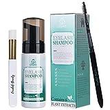 Eyelash Extension Foam Cleanser Shampoo & Brush + Mascara Wand - Forabeli/Eyelid Foaming Cleansing/Lash Cleaner/Nourishing Formula/Paraben & Sulfate Free/Makeup & Mascara Remover/Salon and Home use