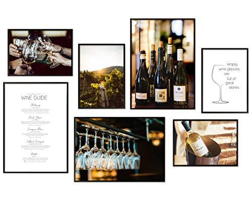 Hyggelig Home Premium Poster Set - 7 passende Bilder im stilvollen Set - Collage Bild Küche Wand Deko - 3 x DIN A3 + 4 x DIN A4 - Set Wein Ohne Rahmen