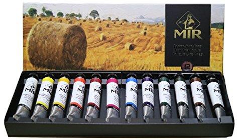 MIR Pack OLEOS Set con 12 Tubos de Pintura al óleo Campos. Gama de 12 Colores. Tubos de 20ml.