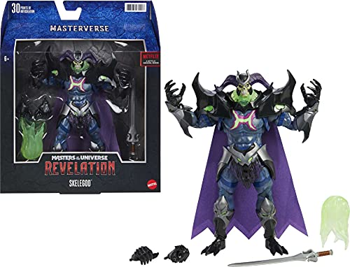 Masters of the Universe Revelation Masterverse, Figura Skelegod, muñeco articulado de juguete (Mattel GYV17)