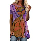 Retro Camiseta Mujer con Estampado de Gatito Blusas de Mujer Larga Elegante Camisas Manga Corta de Cuello en Redondo para Mujer Damas Túnica Suelta Casual Verano Ideal para Trabajo,Ocio