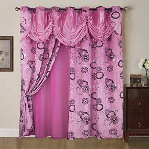 Best Interior Rideau et Voilage Mille et Une Nuit - Rose - Dimensions : 280x260cm