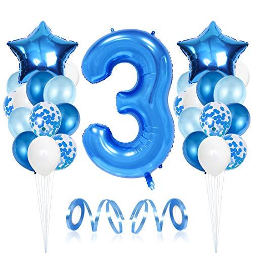 Bluelves Luftballon 3. Geburtstag Blau, Geburtstagsdeko Jungen 3 Jahr, Happy Birthday Folienballon, Deko 3 Geburtstag Junge, Riesen Folienballon Zahl 3, Ballon 3 Deko zum Geburtstag