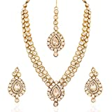 Aheli Indian Wedding Wear Faux Stone Necklace with Maang Tikka Set Elegant Ethnic Fashion Jewelry for Women