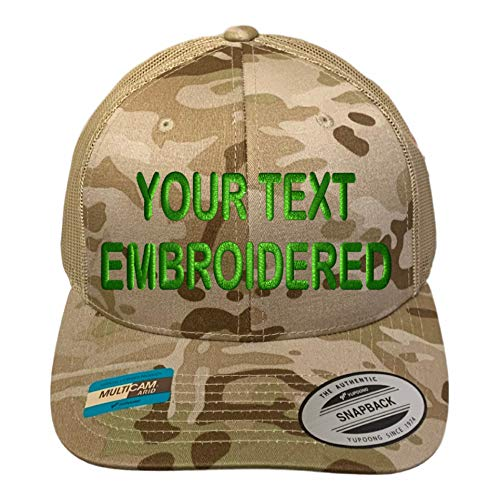 Custom Trucker Hat Yupoong 6606 Embroidered Your Own Text Curved Bill Snapback (Multicam Arid/Tan)