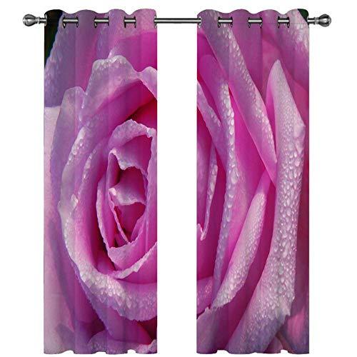 Cortinas Infantiles Moderno 2 Piezas - Cortinas Opacas para Habitación Niño Niña, 200x214 CM, 3D Flores de Color Rosa de Moda patrón