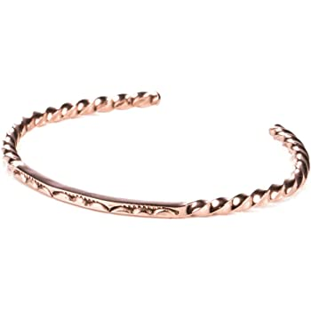 Tskies Copper Jewelry for Women Stamped Twist Bracelet Handcrafted Native American Made Jewelry