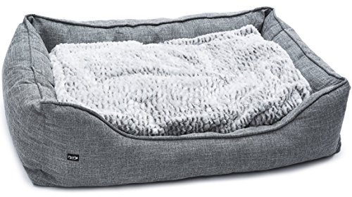 PetPäl Premium Hundebett - Größe L - Hundekorb für mittlere & große Hunde - Hundekissen mit Warmer Polsterung & Rutschfestem Boden - Kuscheliger, Flauschiger Hundeplatz - Größe L, Maße: 80x60cm
