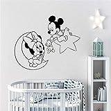 wandaufkleber 3d Mickey Minnie Mouse Wandkunst Aufkleber Aufkleber Wandtattoo Mickey Maus Minnie Mouse Moon Star Wandtattoo Creative Home Decor Vinyl Wand